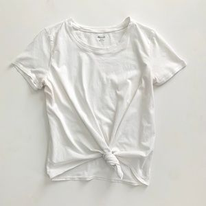 Madewell Knot Front Tee in White LG